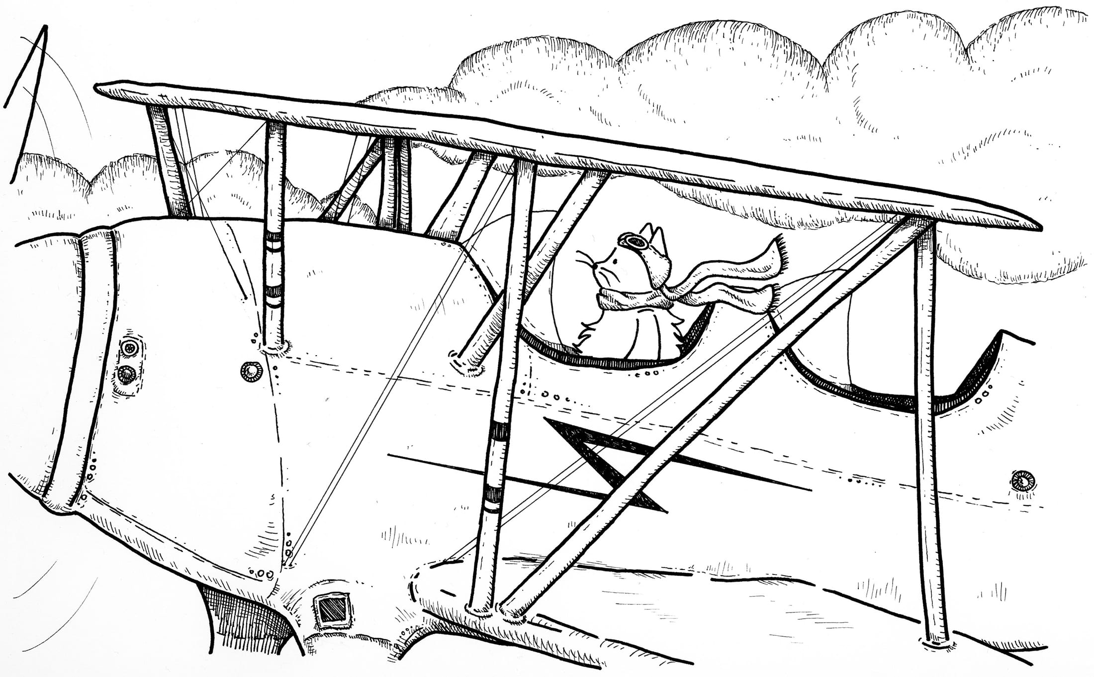 Black and white illustration of a cat flying a plane