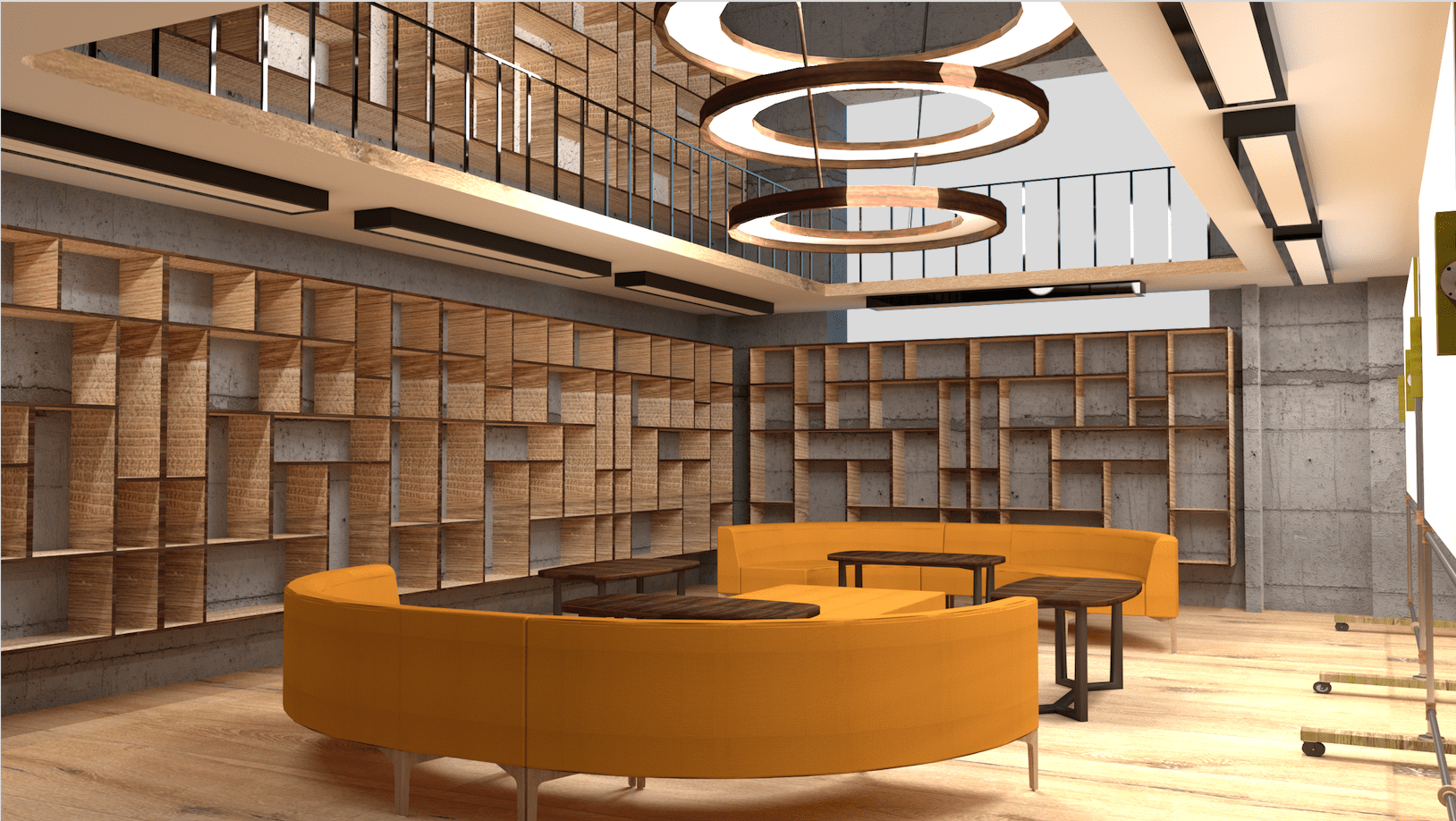 Collaborative working space that could be used as a library and an informal meeting area for the clients. the bespoke shelves could also be used to store material samples in the workplace.