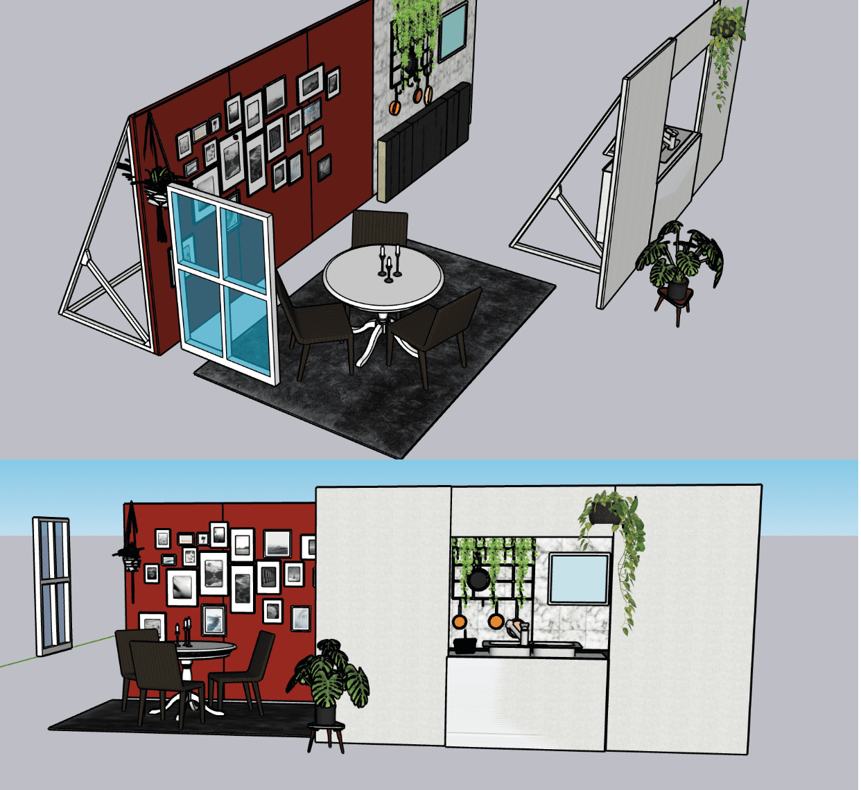 This is a set design I made in sketchup. Designing for emotion, showing how colour and shapes work together to portray emotions