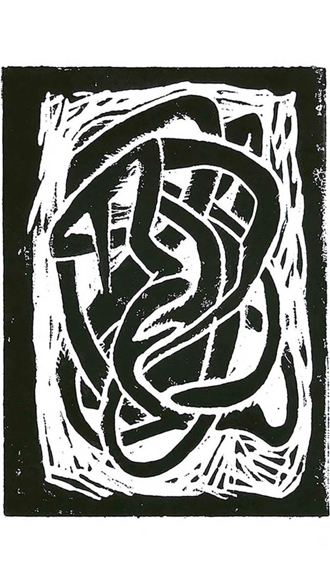 A lino print of a tangled form