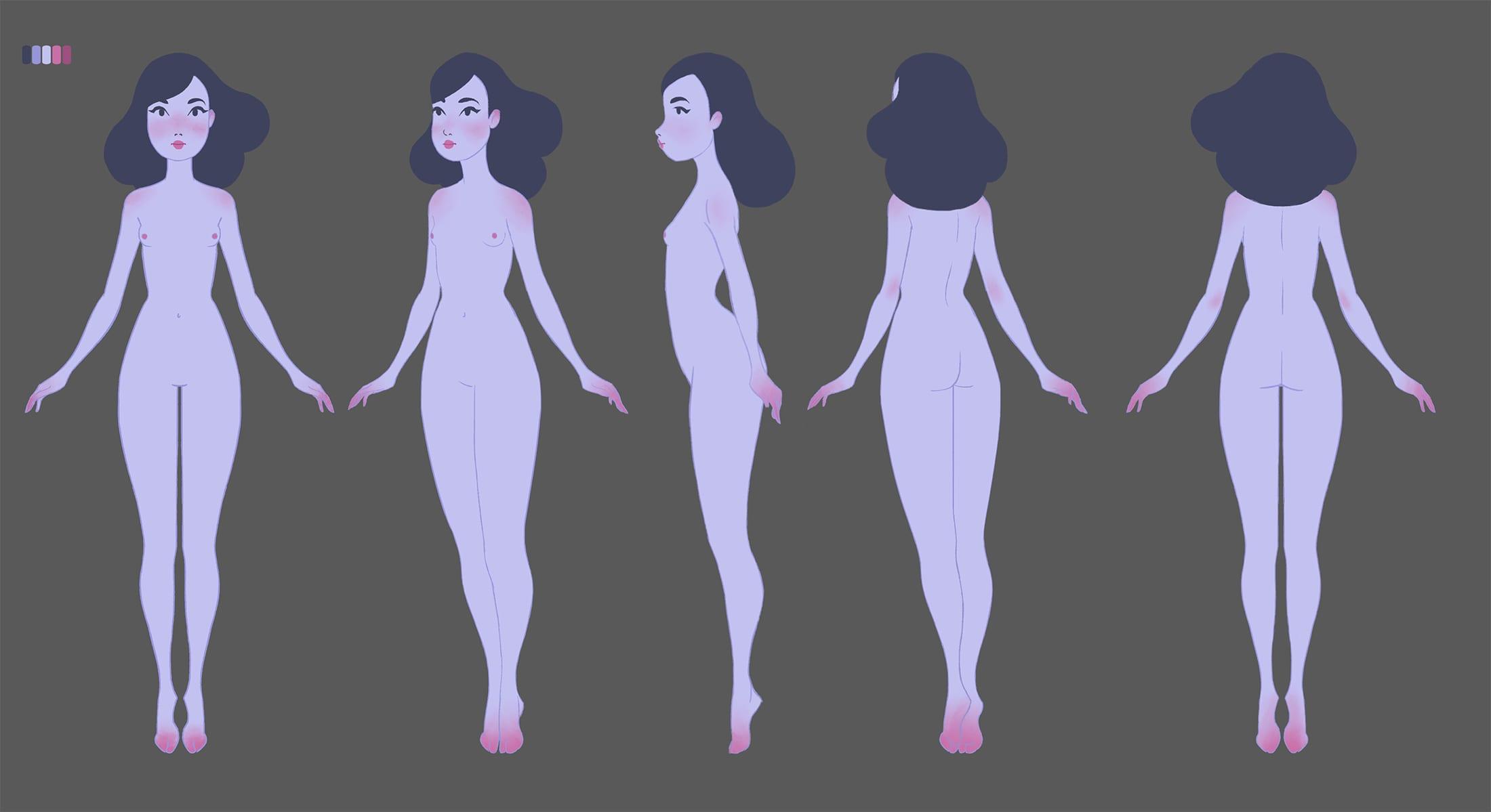 Character design sheet for Ava