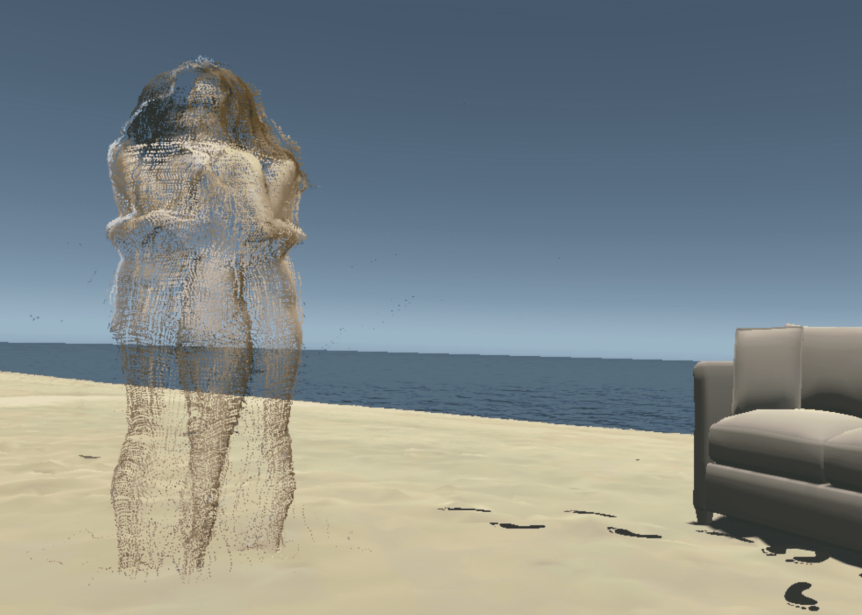 A beach scene, with sand in the foreground and a nude couple embracing, stood close to a sofa.