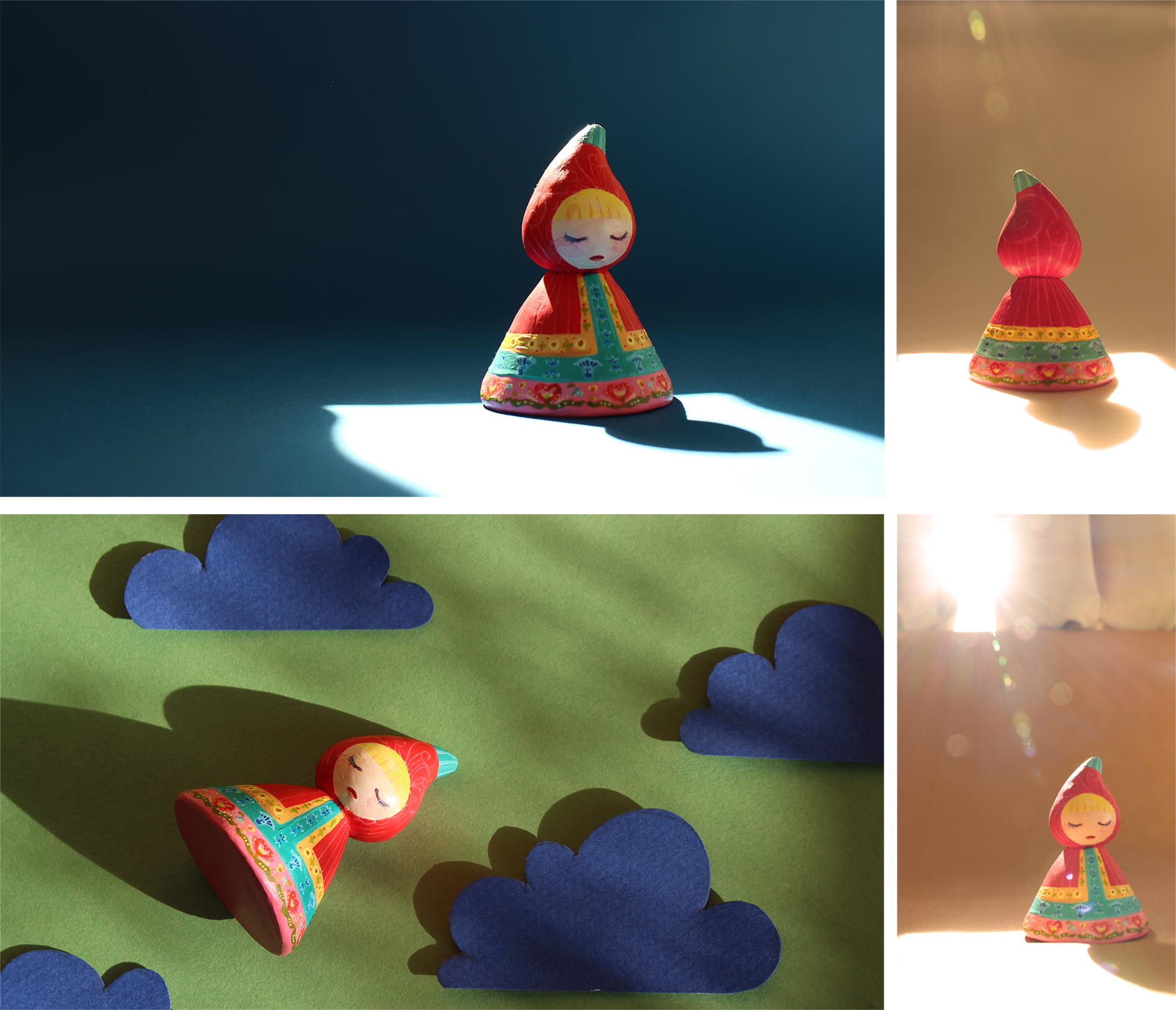 the girl in the red raincoat ceramic toy puppet toy-making