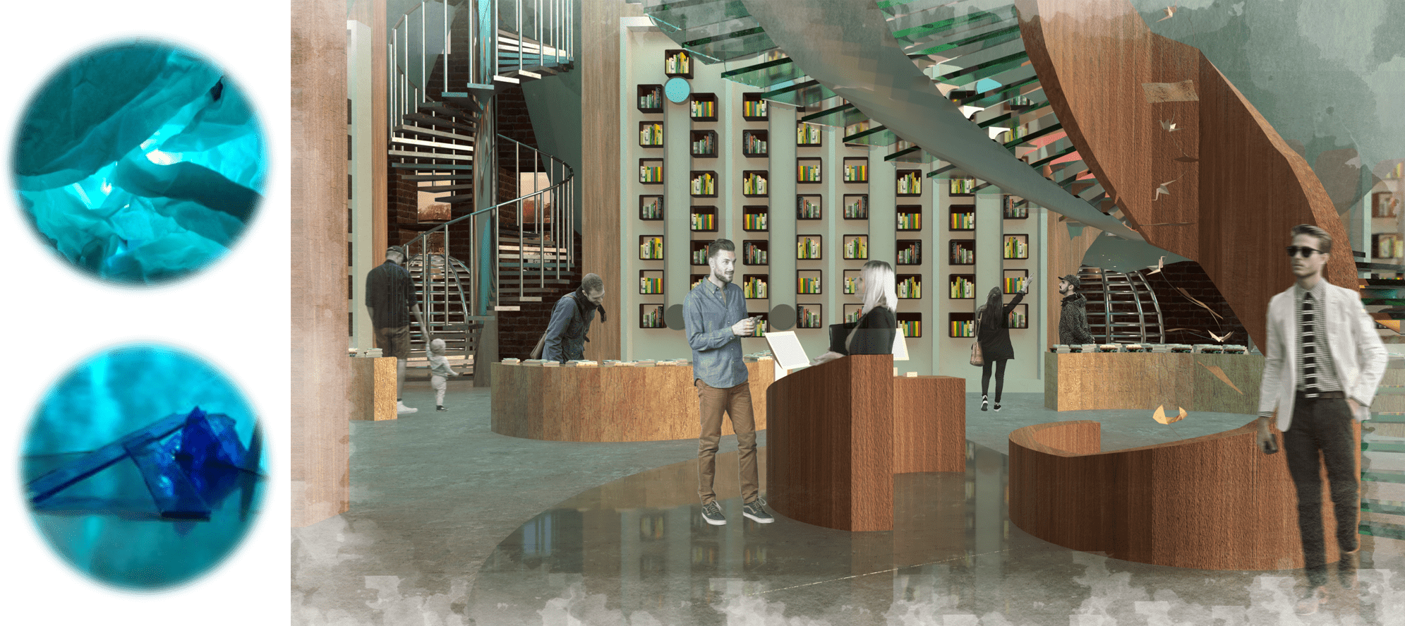 The library space with books from sustainable food recipes to eco-friendly plant growth. The inspiration for the space's aesthetic, experience and structure comes from conceptual models made as a response to site.