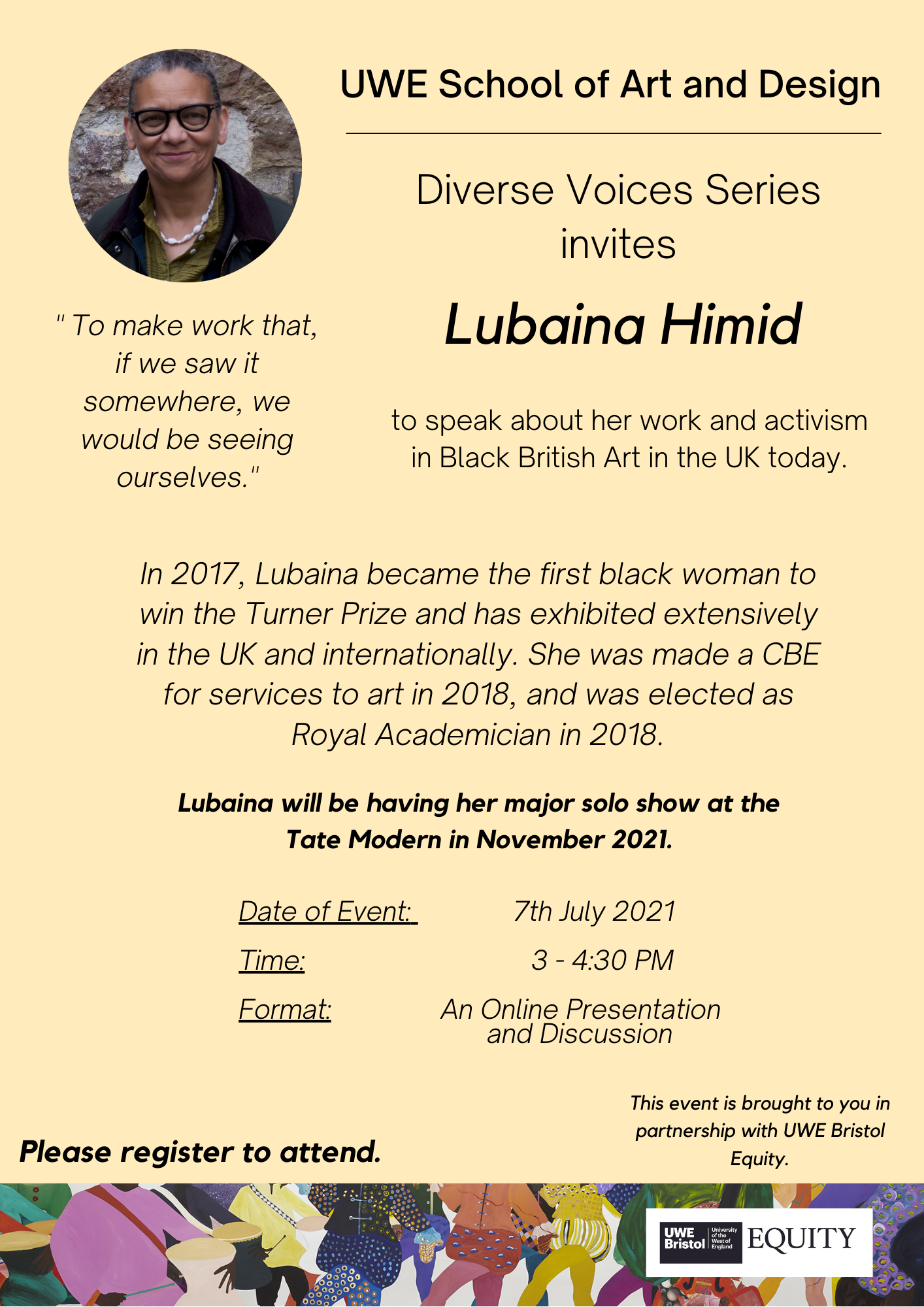Diverse Voices Series Lubaina Himid UWE EQUITY