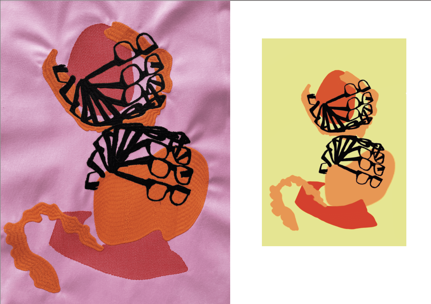 Leigh bowery inspired print and digital embroidery