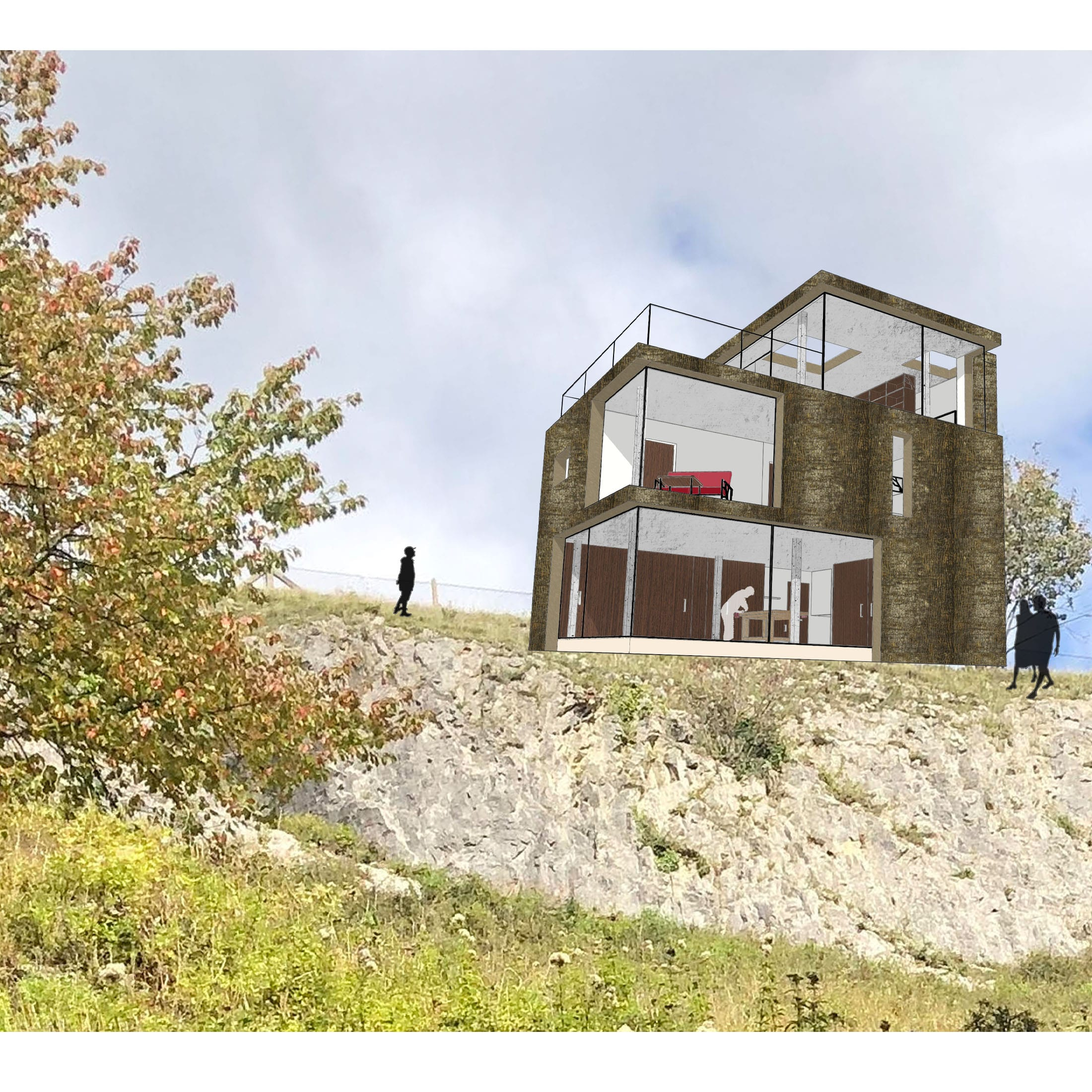 A house sitting at the edge of a cliff face.
