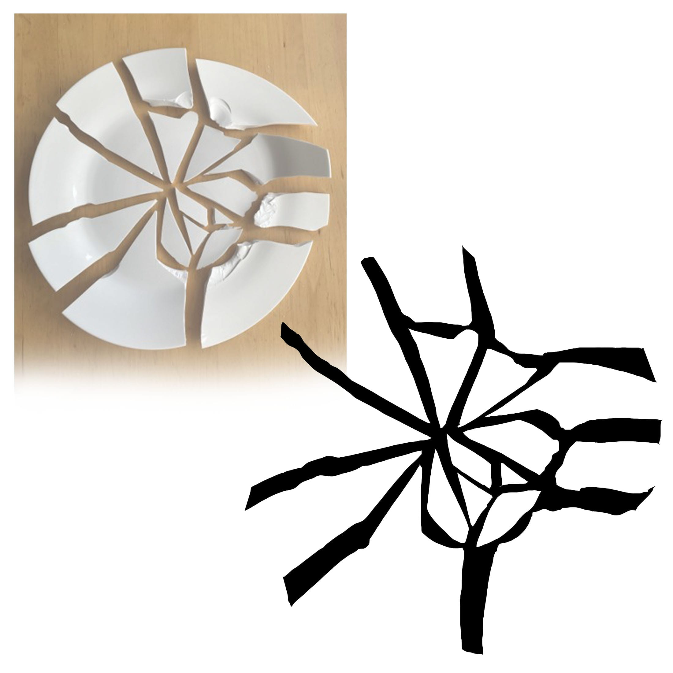 A collage of a broken plate and a black outline of the break created in the plate.