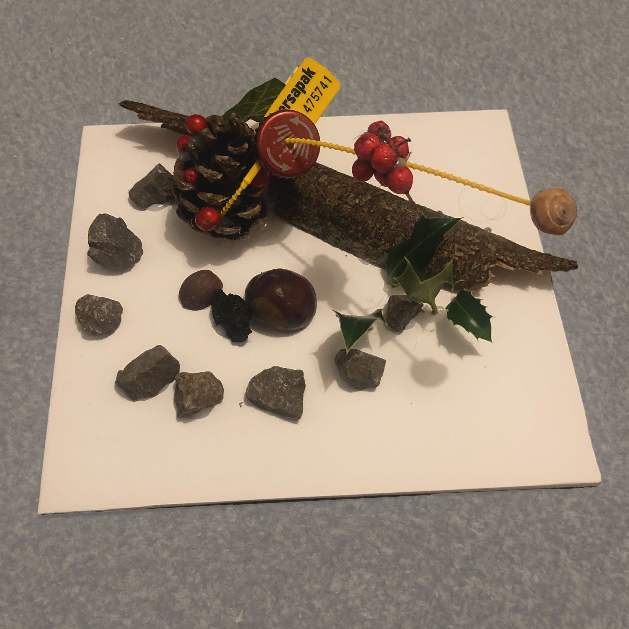 A collection of random objects (eg. pinecones, berries, rocks, tree bark, a bottle cap) turned into an unconventional sculpture.