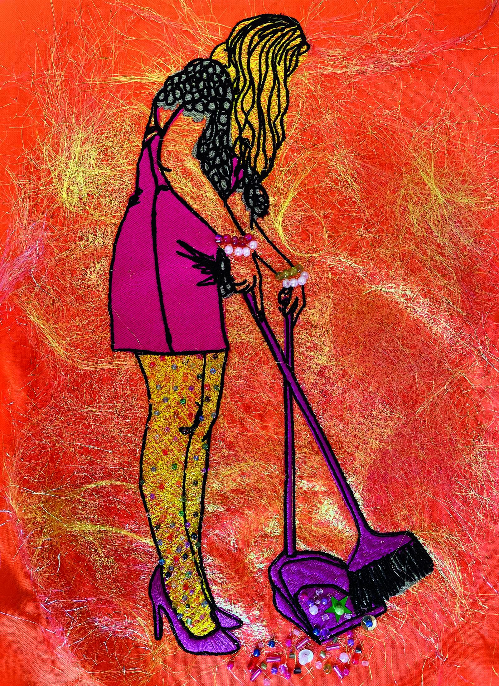 digital embroidery sweeping the floor in drag