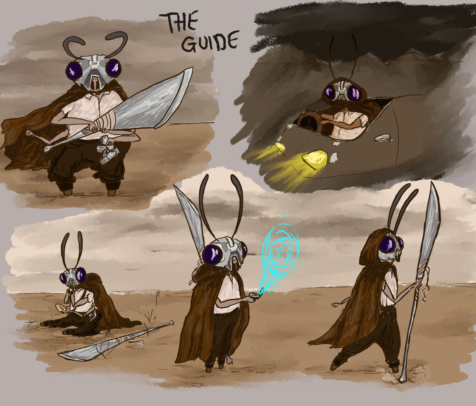 Digital paintings of an anthropomorphic bug character with a robotic headpiece performing various activities in a desert environment.