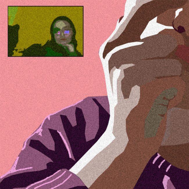 Digitally created artwork of Edie communicating with self on Zoom